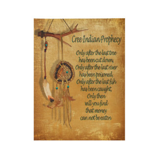 """Native American Indian """"Cree Prophecy"""" Wood Poster"""