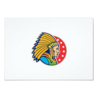 Native American Indian Headgear Side 3.5x5 Paper Invitation Card