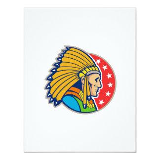 Native American Indian Headgear Side 4.25x5.5 Paper Invitation Card