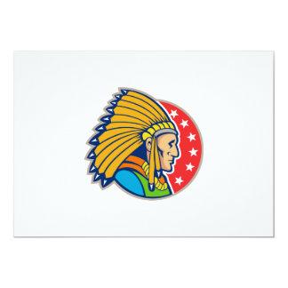 Native American Indian Headgear Side 5x7 Paper Invitation Card