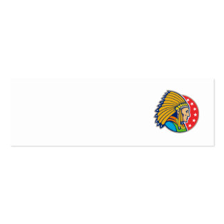Native American Indian Headgear Side Double-Sided Mini Business Cards (Pack Of 20)
