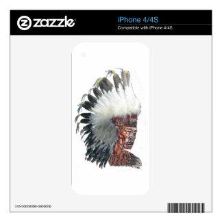 Native American Indian in Headdress iPhone 4 Skins