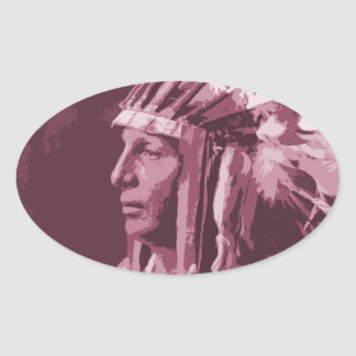 Native American Indian Oval Sticker