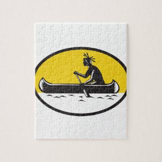 Native American Indian Paddling Canoe Woodcut Jigsaw Puzzle