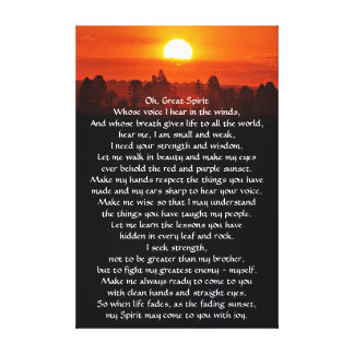 Native American Indian Prayer Canvas Print
