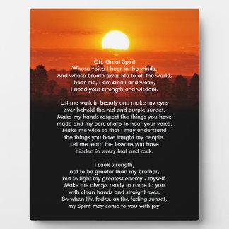 Native American Indian Prayer Plaque