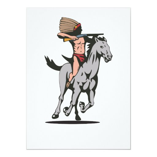 Native American Indian Riding Horse Custom Announcements