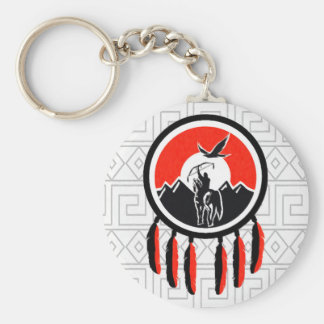 Native American Indian Shield Keychain
