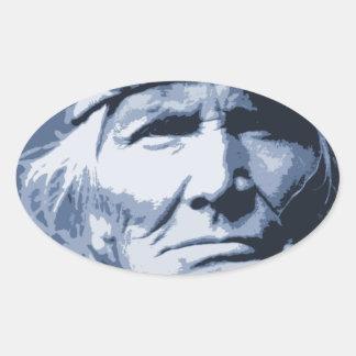 Native American Indian Si Wa Wata Wa Oval Sticker