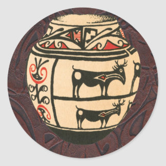 Native American Indian Southwest Antelope Pottery Classic Round Sticker