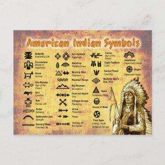 Native American Indian Symbols Postcards