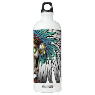 Native American Indian Tribal Gothic Skull Aluminum Water Bottle