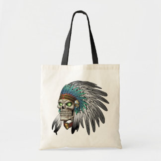 Native American Indian Tribal Gothic Skull Budget Tote Bag