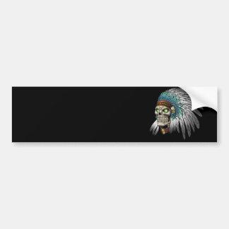 Native American Indian Tribal Gothic Skull Bumper Sticker
