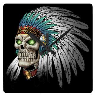 Native American Indian Tribal Gothic Skull Wallclock