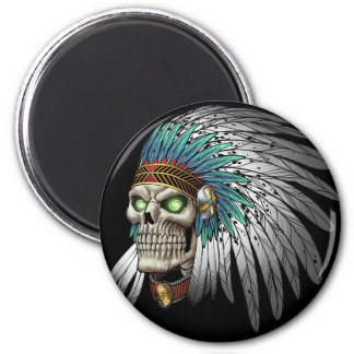 Native American Indian Tribal Gothic Skull Magnet