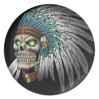 Native American Indian Tribal Gothic Skull Melamine Plate