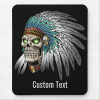 Native American Indian Tribal Gothic Skull Mouse Pad