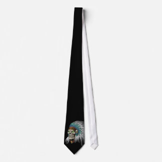 Native American Indian Tribal Gothic Skull Neck Tie