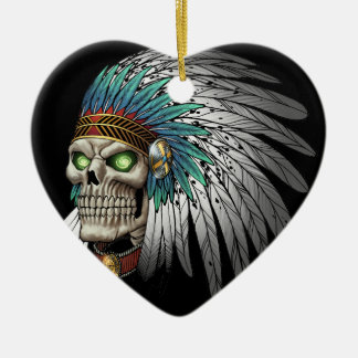 Native American Indian Tribal Gothic Skull Christmas Ornaments