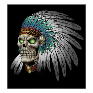 Native American Indian Tribal Gothic Skull Poster