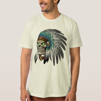 Native American Indian Tribal Gothic Skull T-Shirt