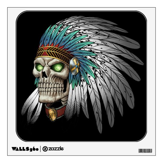 Native American Indian Tribal Gothic Skull Wall Decal