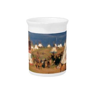 Native American Indian Village Beverage Pitcher