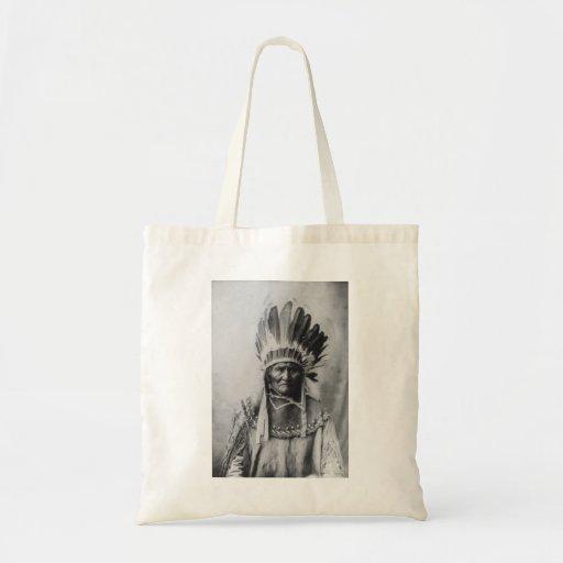 Native American Indian Vintage Portrait Canvas Bag