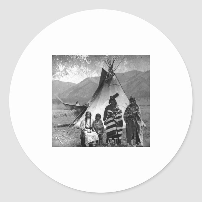Native American Indian Vintage Portrait Classic Round Sticker