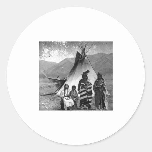 Native American Indian Vintage Portrait Classic Round Sticker