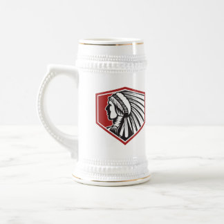 Native American Indian Warrior Side Retro 18 Oz Beer Stein