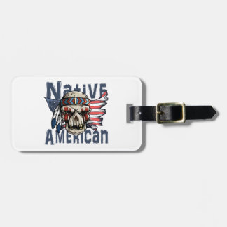 Native American Indian Warrior Skull USA Flag Bag Tag