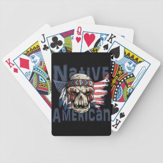 Native American Indian Warrior Skull USA Flag Bicycle Playing Cards