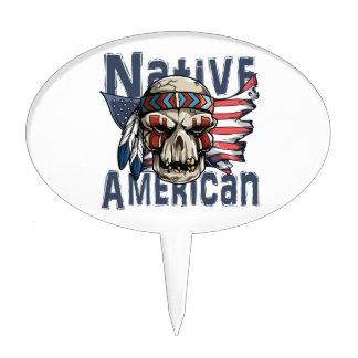 Native American Indian Warrior Skull USA Flag Cake Topper