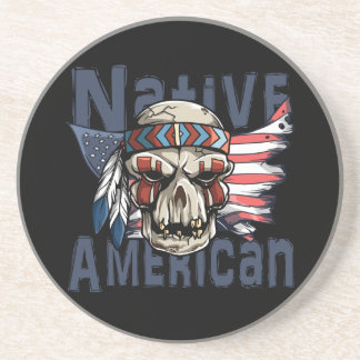 Native American Indian Warrior Skull USA Flag Coaster