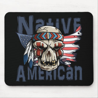 Native American Indian Warrior Skull USA Flag Mouse Pad