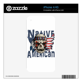 Native American Indian Warrior Skull USA Flag Skin For The iPhone 4S