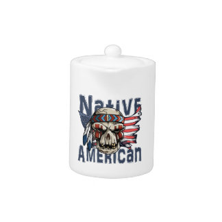 Native American Indian Warrior Skull USA Flag Teapot