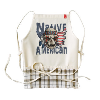 Native American Indian Warrior Skull USA Flag Zazzle HEART Apron