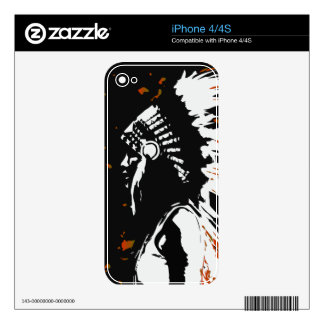 Native American Indian within Flames iPhone 4S Skins