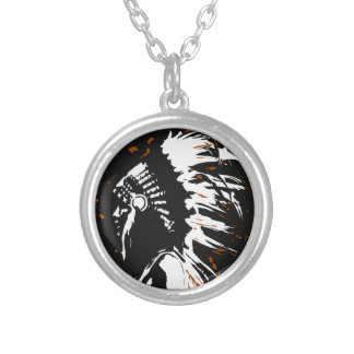 Native American Indian within Flames Silver Plated Necklace