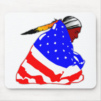Native American Indian Wrapped In American Flag Mouse Pad