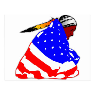 Native American Indian Wrapped In American Flag Postcard