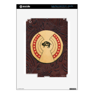 Native American Indiana Buffalo Leather Shield Decal For iPad 3