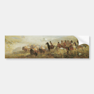 Native American Indians Buffalos Bumper Sticker