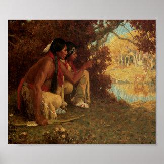 Native American Indians Deer Hunting Art Print Pos
