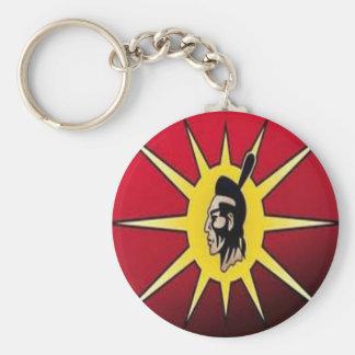 Native American keychains-warrior flag Basic Round Button Keychain