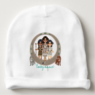 Native American Ladies & Wild Animals Personalized Baby Beanie