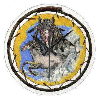 Native American Lakota Time Mustang Wall Clock